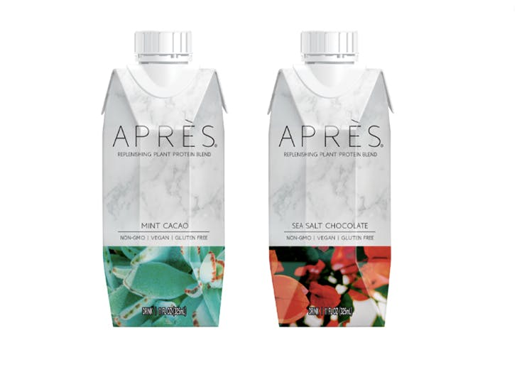 two bottles of apres protein drink
