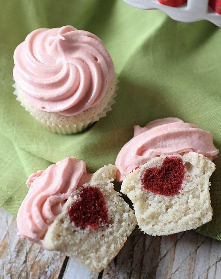 vanilla surprise heart cupcakes recipe