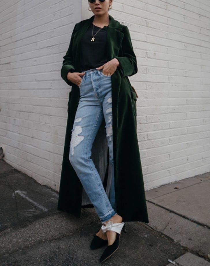 velvet coat and jeans