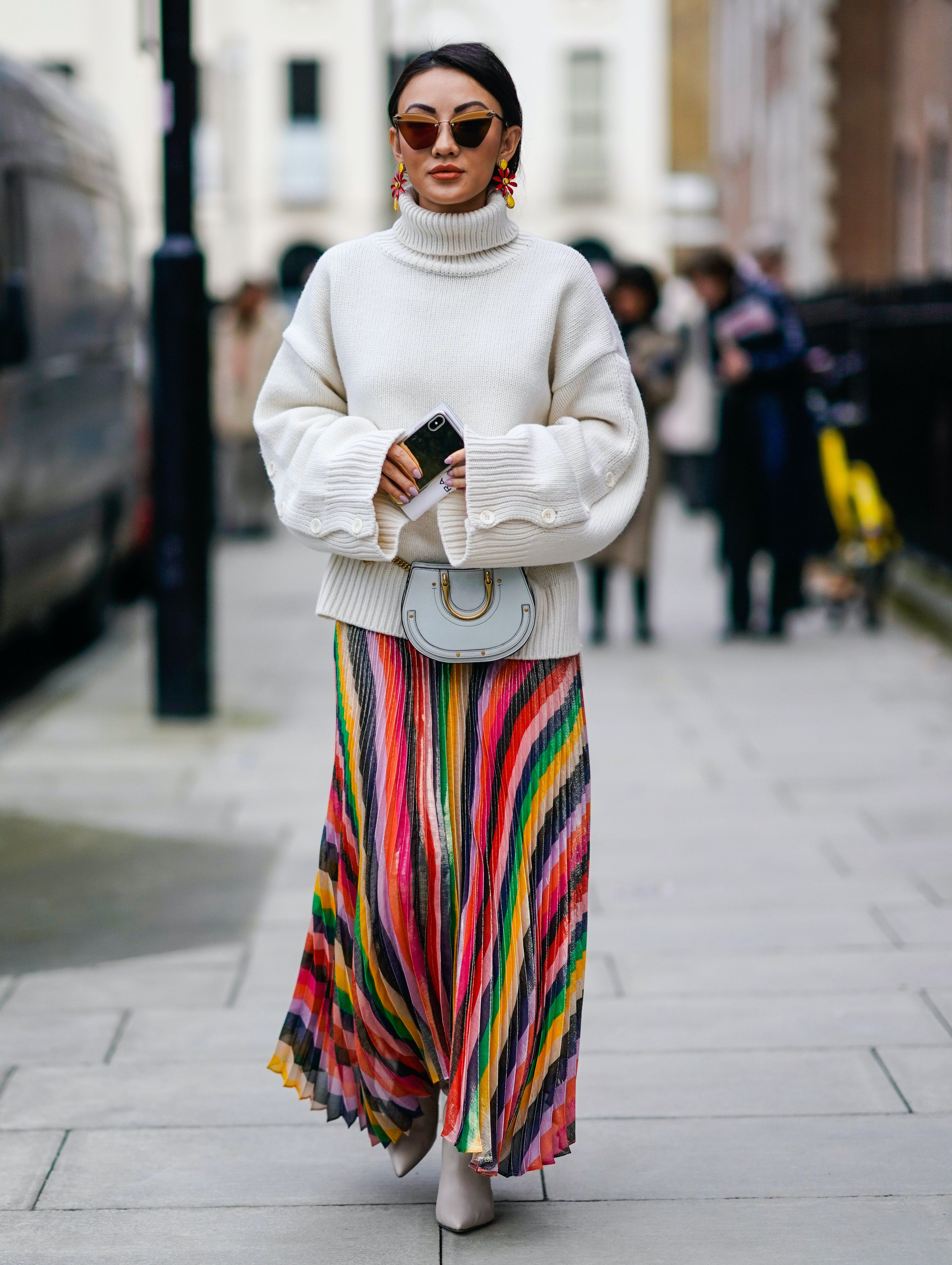wear a winter white sweater with a summer skirt
