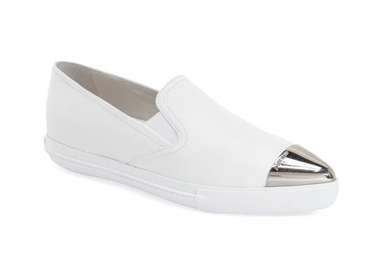 white miu miu sneakers with cap toe