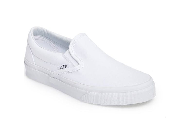 white slip on vans sneakers