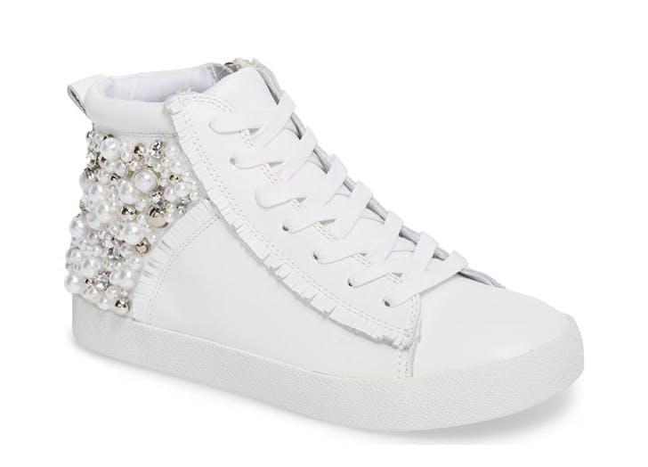 white steve madden high top sneakers