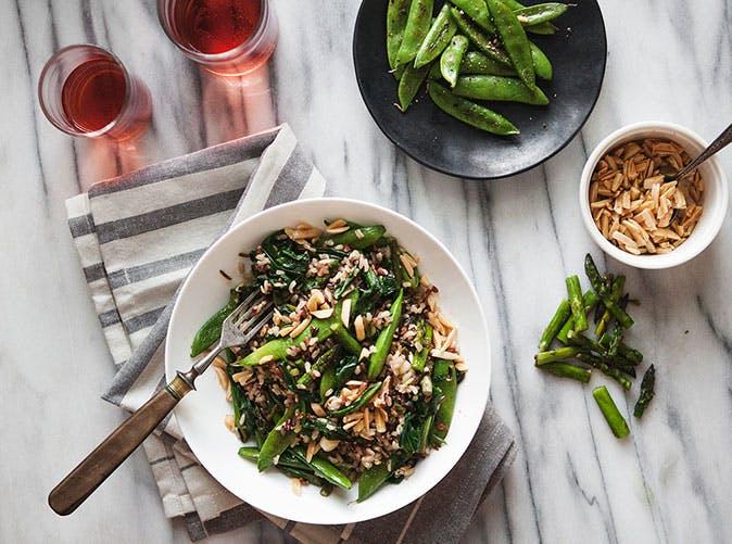 wild rice bowl with ramps asapargus snap peas recipe