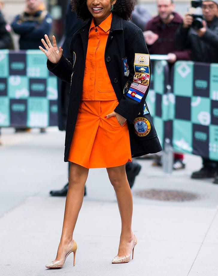 woman-wearing-orange-skirt-and-top-and-nude-heels.jpg (728×921)