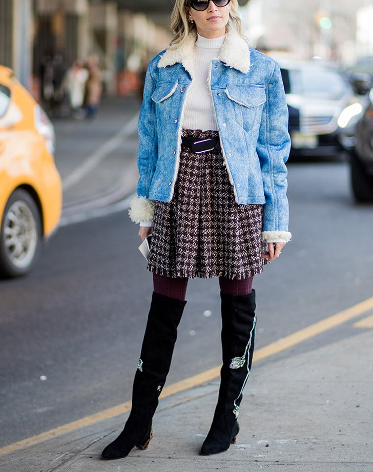 woman-wearing-short-skirt-jean-jacket-and-boots.jpg (728×921)
