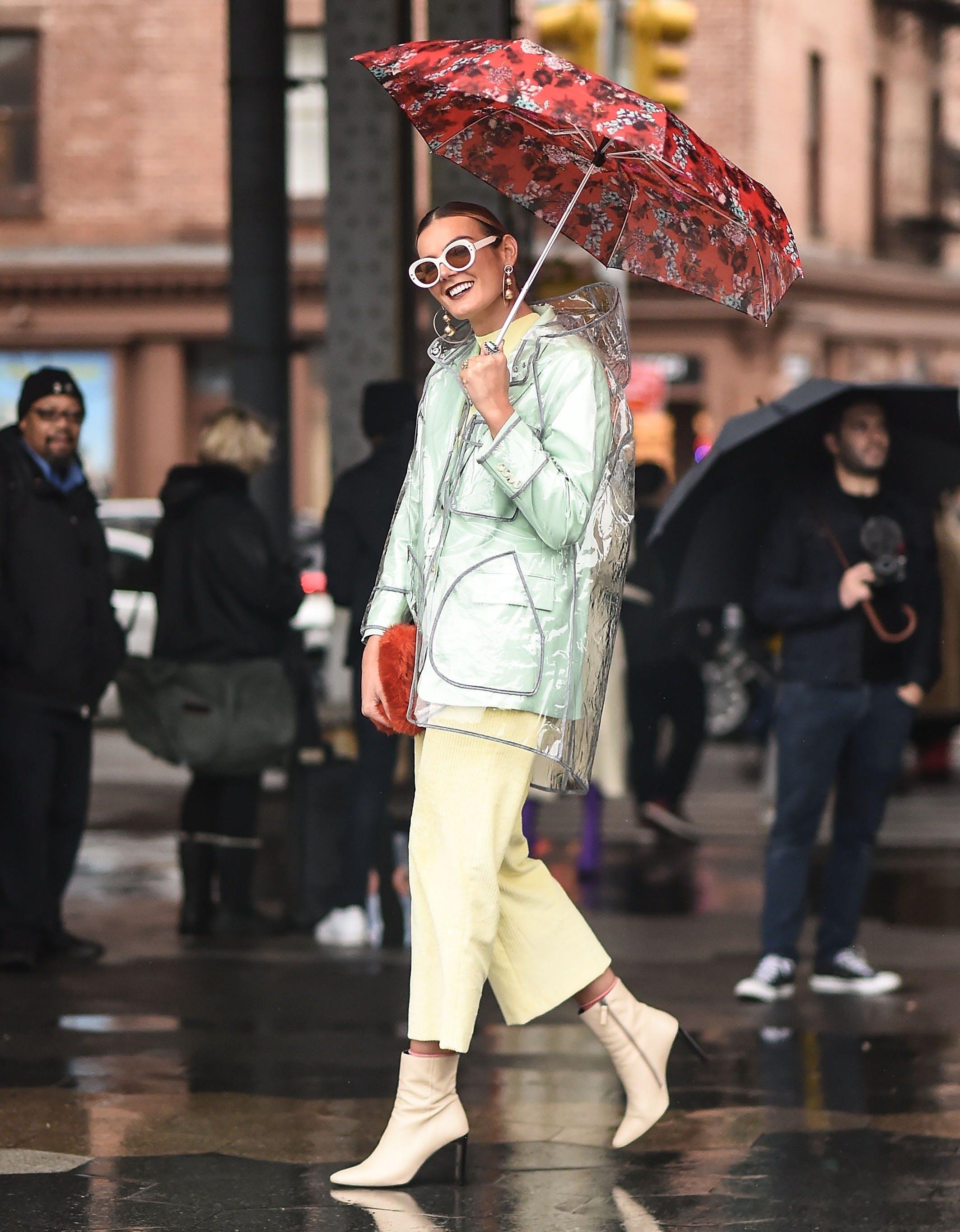 woman wearing fun rain gear