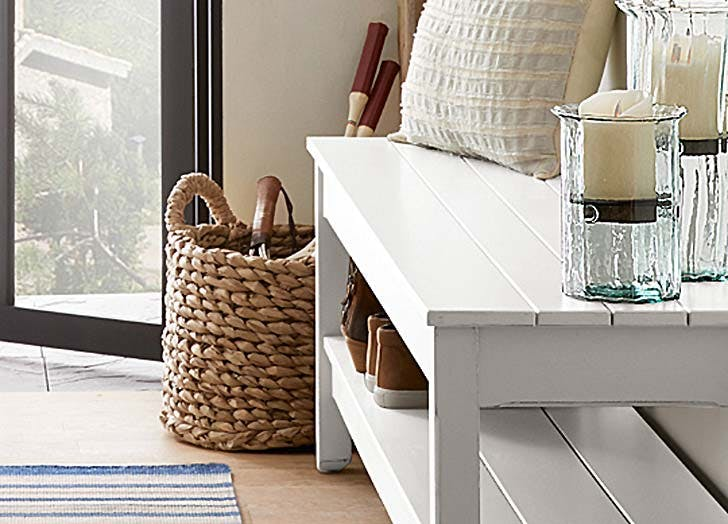 woven basket storage area