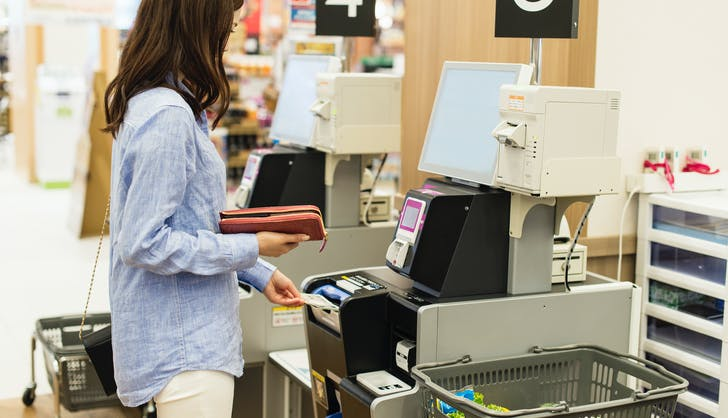 3 woman buying groceries at self checkout