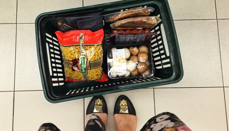 5 grocery shopping basket full of food