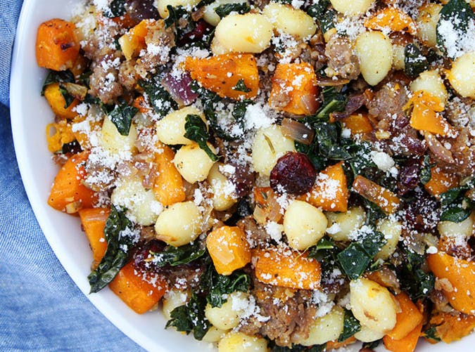 Butternut Squash  Sausage and Kale Gnocchi recipe