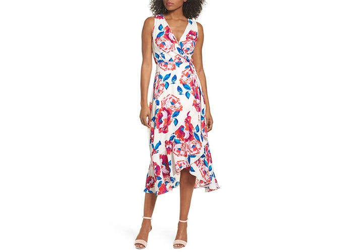 Charles Henry Floral Midi Dress