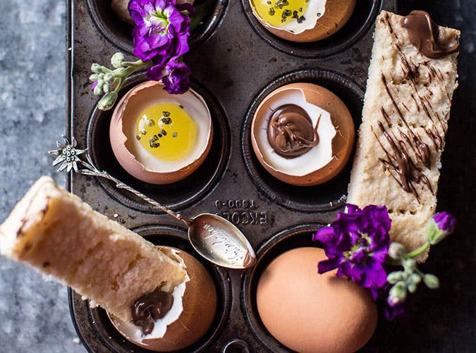 Cheesecake Eggs with Shortbread Soldiers