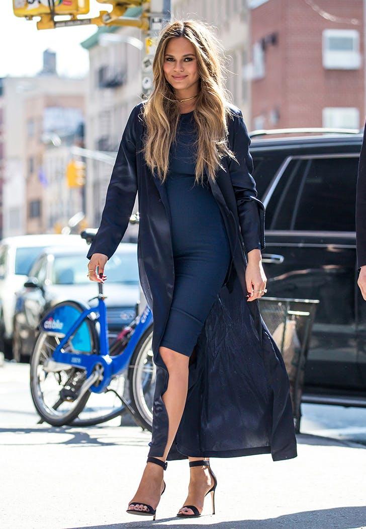 Chrissy Teigen navy blue dress duster
