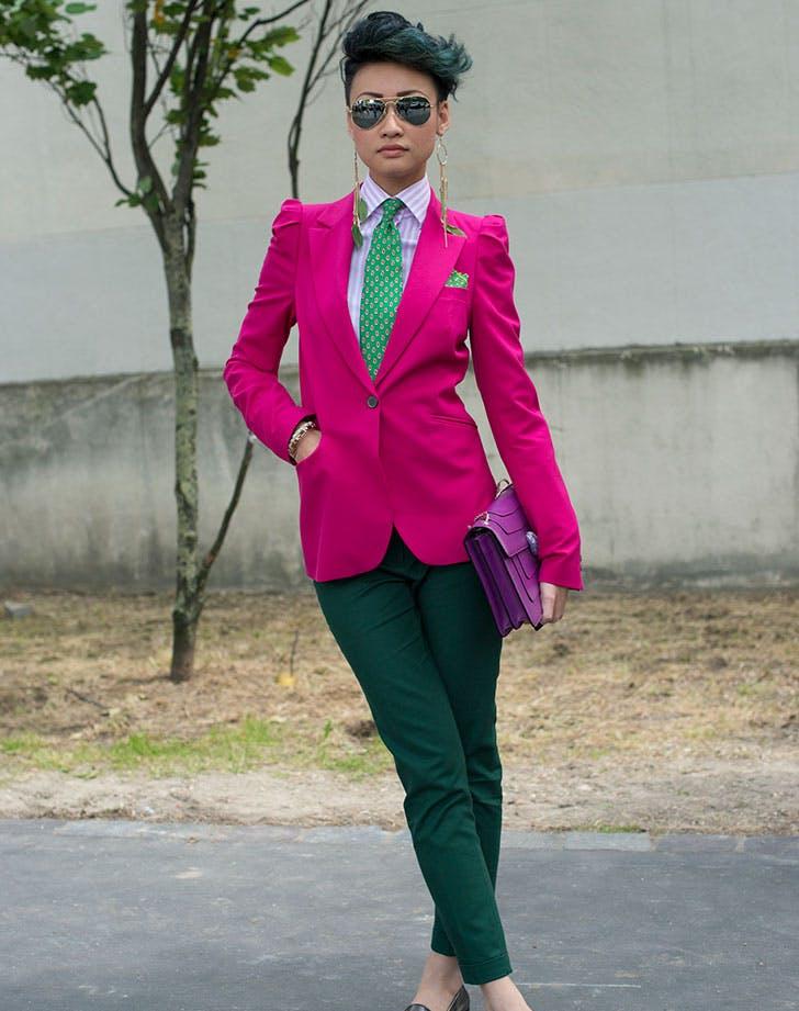 Esther Quek wearing a pink suit
