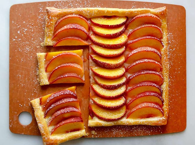 Five Ingredient Peach Tart made with puff pastry