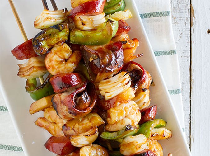 Grilled Shrimp and Sausage Kabobs recipe