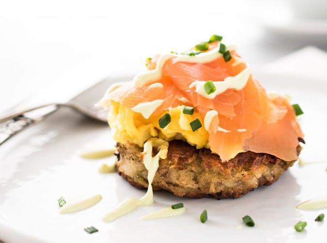 Irish Smoked Salmon and Egg Boxty recipe