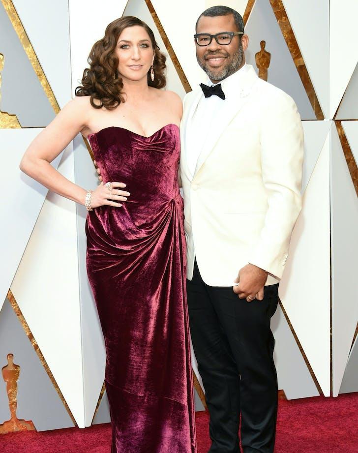 Jordan Peele Chelsea Peretti 2018 Oscars red carpet