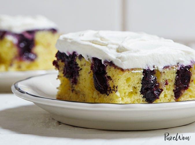 Lemon blueberry poke cake Easter dessert