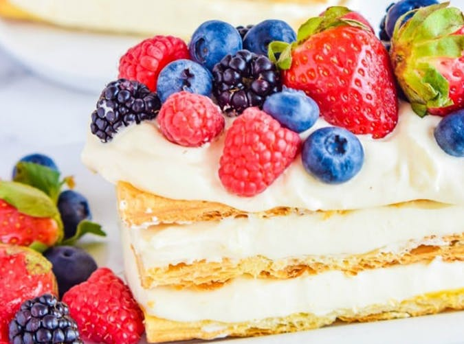 Lemon Berry Napoleon made with puff pastry