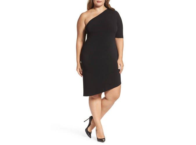 Leota Black One Shouldered Dress