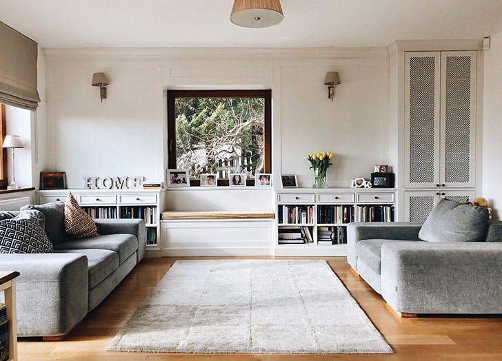 Living room carpet and sofas