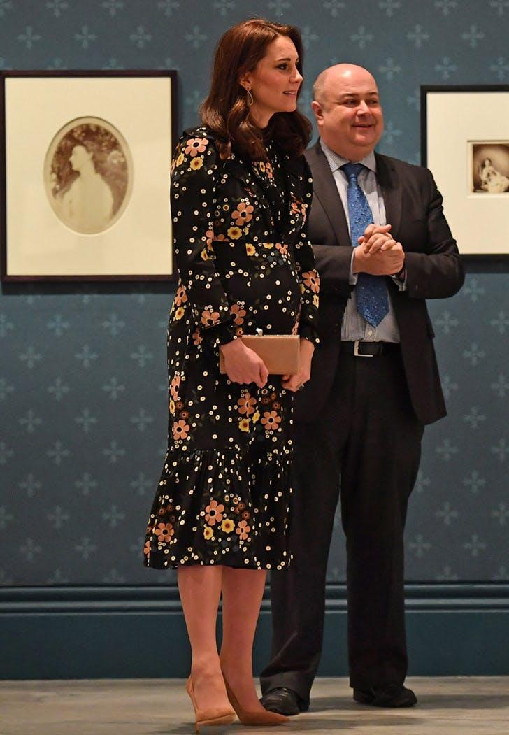 Patterned Floral Midi Kate Middleton