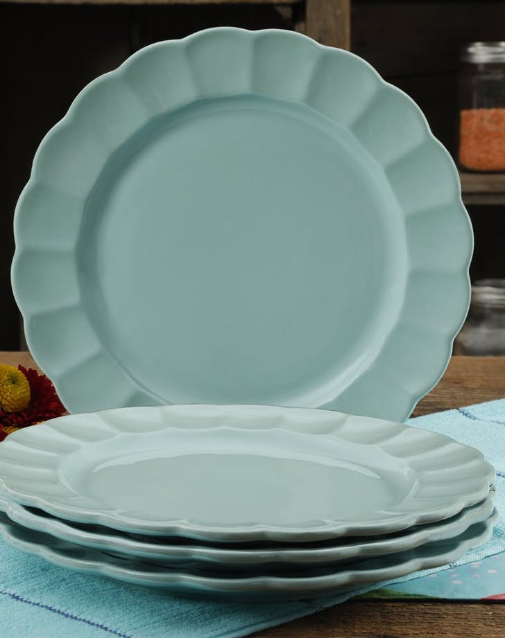 Pioneer Woman Luster Teal 107 Inch Dinner Plates Set Four