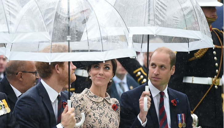 Prince Harry William holding umbrella for Kate Middleton