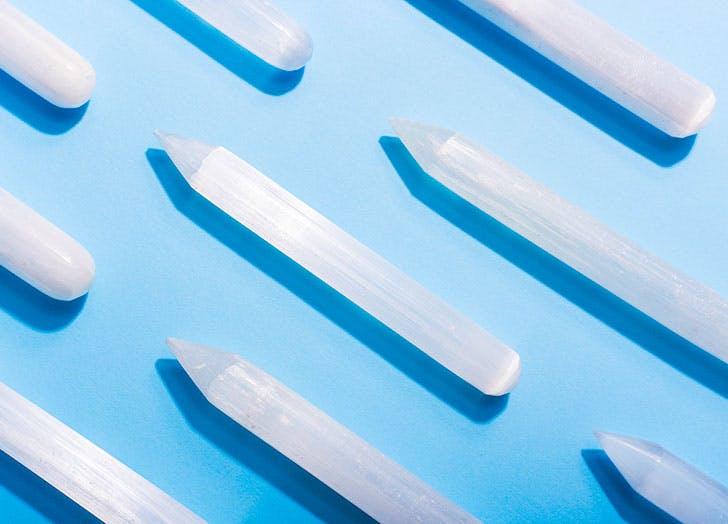 Row of Selenite crystal wands
