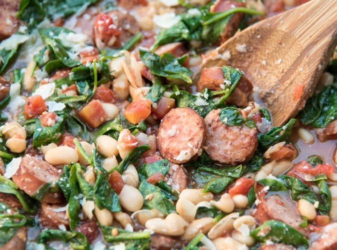 Sausage and White Beans with Spinach recipe