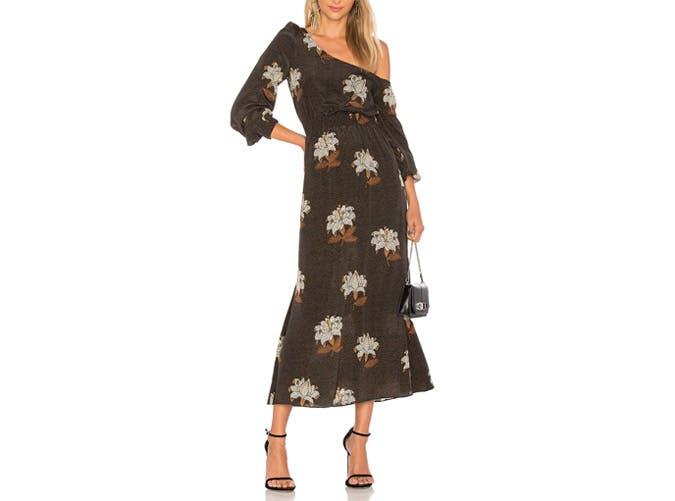 Stone Cold Fox One Shoulder Midi dress