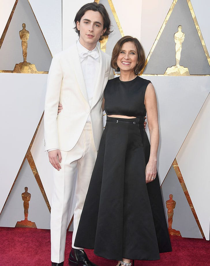 Timothee Chalamet and mom Nicole Flender at 2018 Oscars