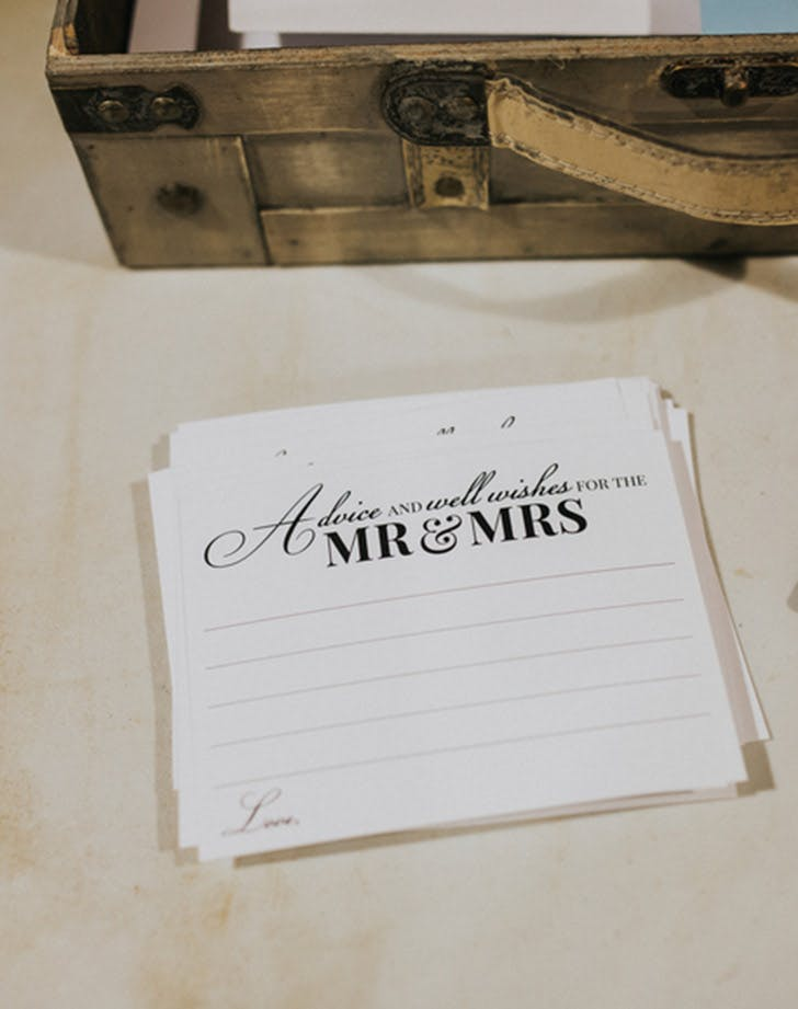 advice Cards wedding guest book
