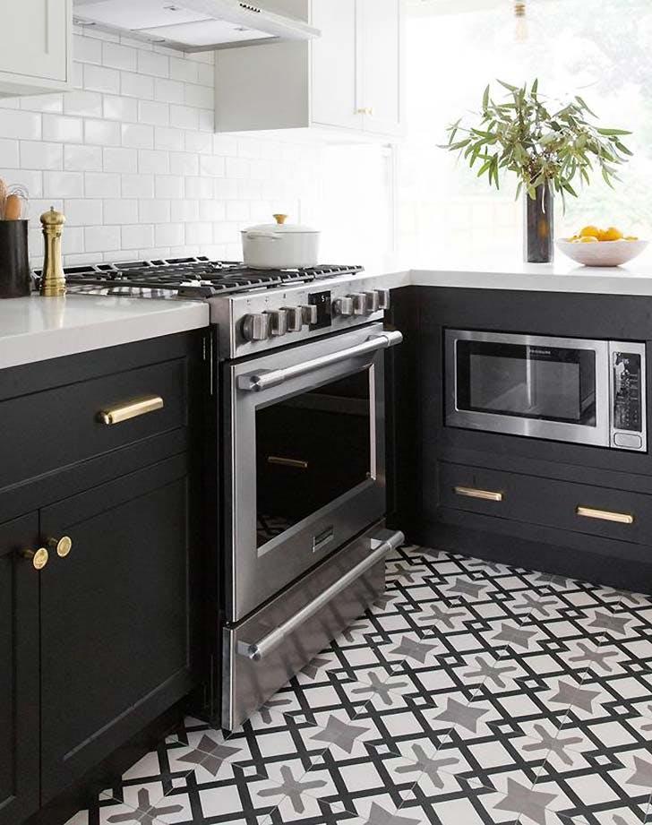 black kitchen fun tile