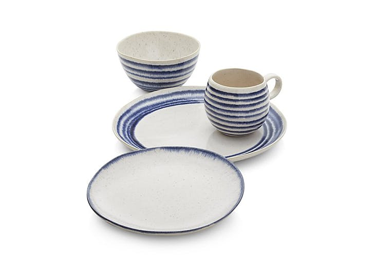 blue striped stoneware dishes