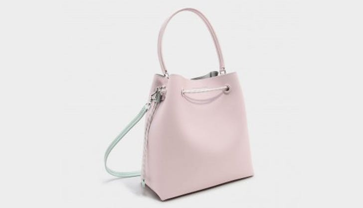 blush pink bucket bag from charles and keith