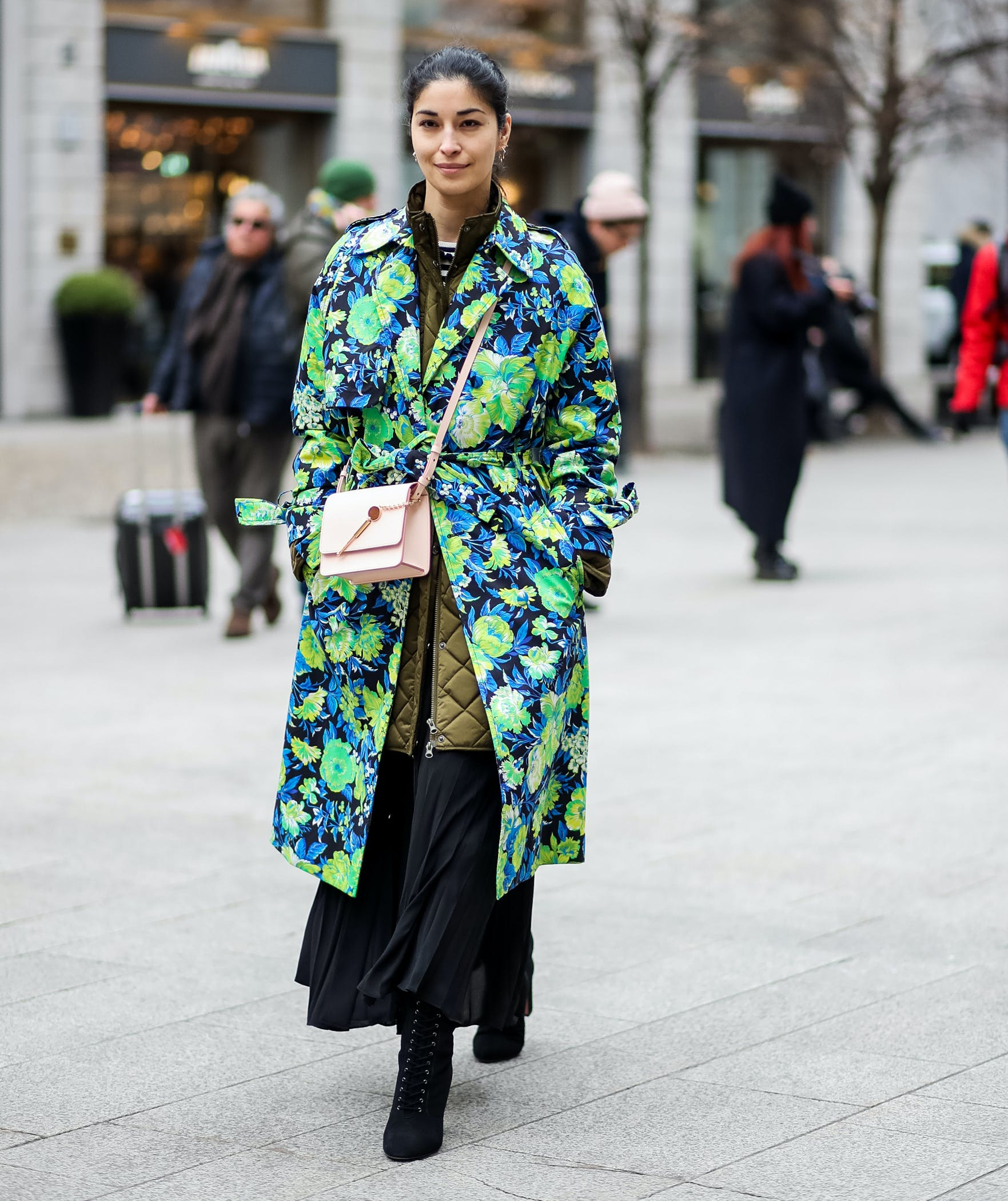 bold floral statement trench coat