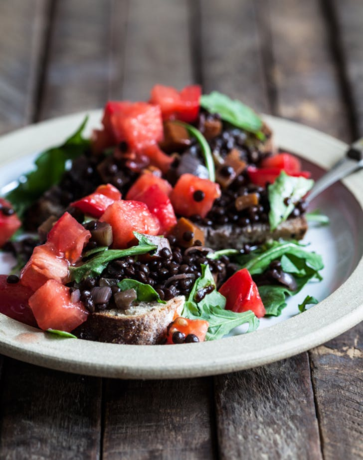 braised lentils on toast recipe