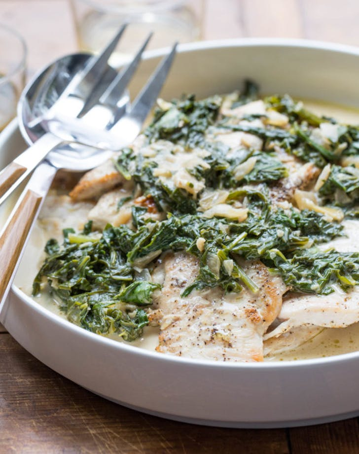 chicken with arugula and mustard pan sauce recipe