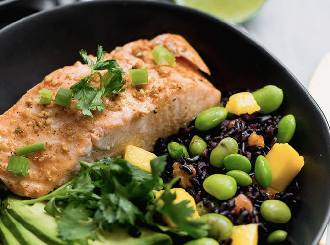 chili maple lime salmon and forbidden rice recipe