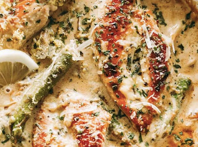 creamy lemon chicken with asparagus recipe