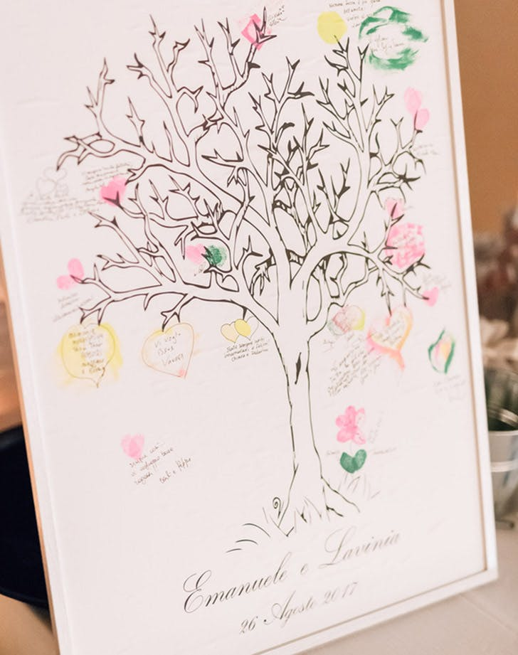 framed tree wedding guestbook