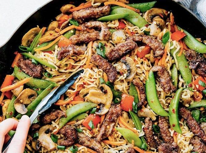 garlic beef veggie stir Fry recipe
