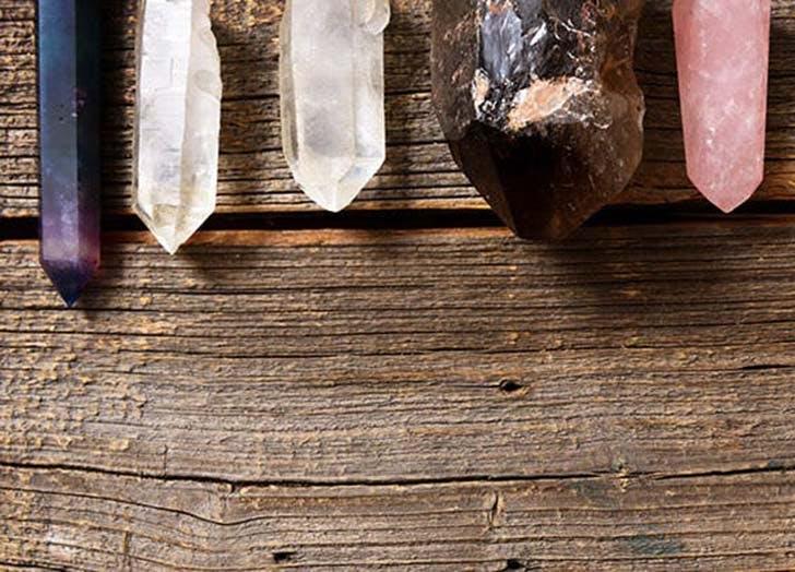 healing crystals on wood