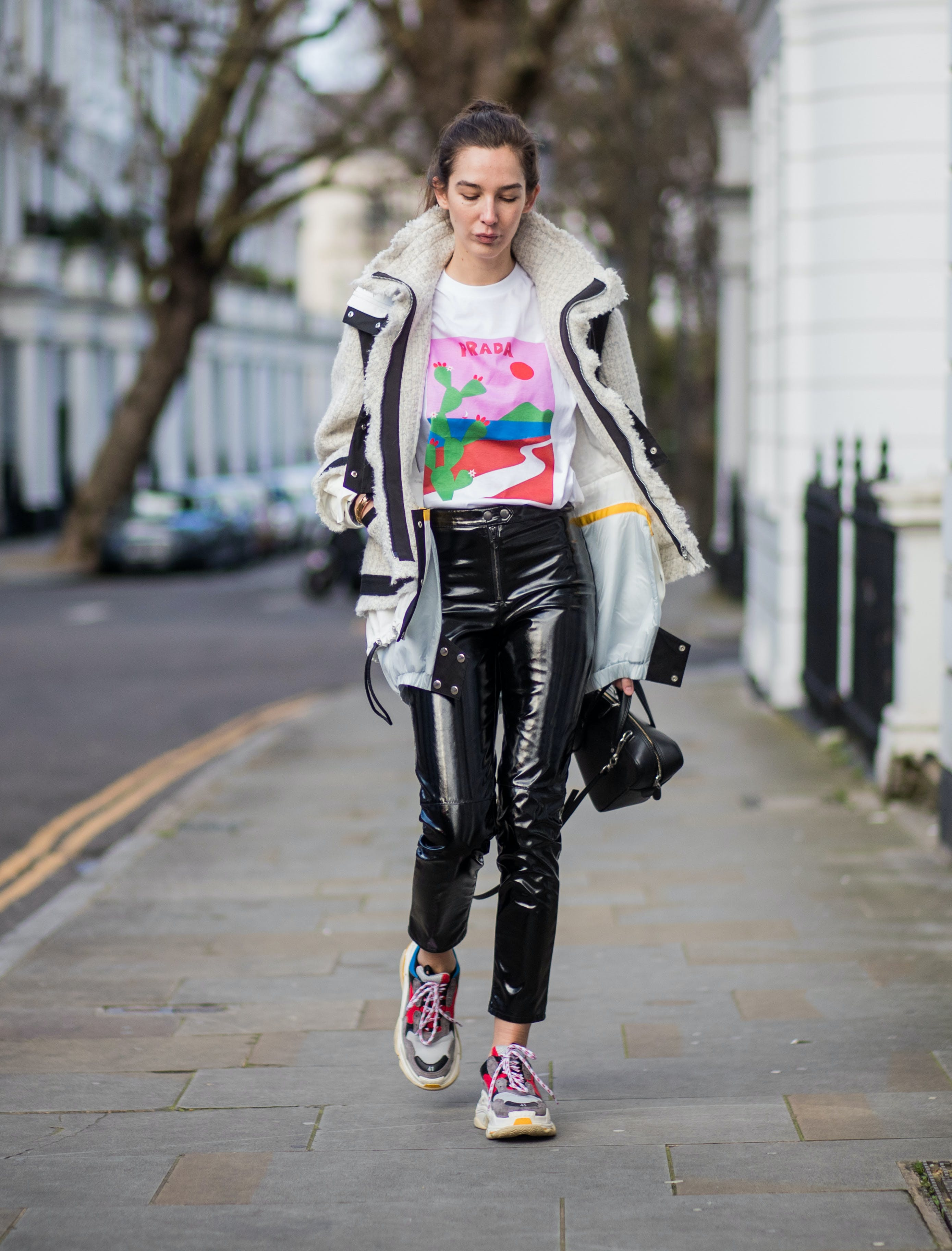 high shine patent leather pants