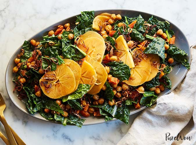 kale salad persimmons crispy chickpeas fried shallots recipe