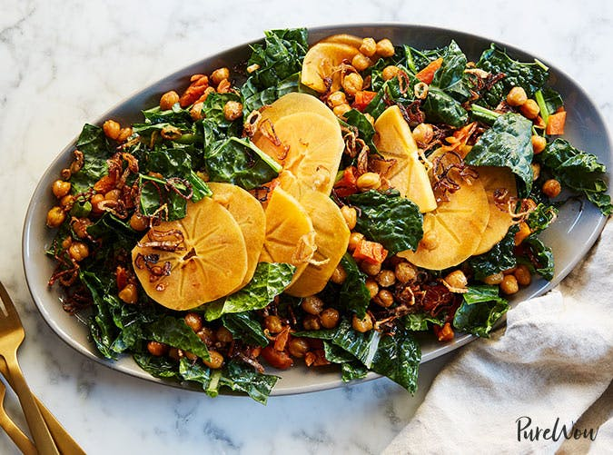 kale salad with persimmons and chickpeas recipe