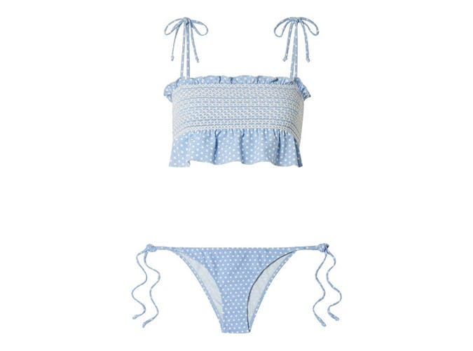 lisa marie fernandez selena smocked polka dot stretch crepe bikini top